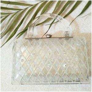 Vintage lucite rhinestone 50s purse clutch handbag